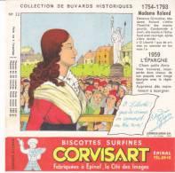 Buvard Biscottes Corvisart,collection Historique N° 22, Madame Roland - Biscotti