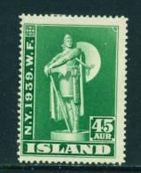 ICELAND - 1939 New Yorks World Fair 45a  Mounted Mint - 1918-1944 Unabhängige Verwaltung
