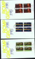 1973  RCMP Centenary  Sc 612-4  UR Platee Blocks Matched Official FDCs - Premiers Jours (FDC)