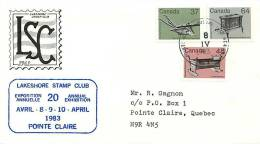 1983  Mid-value Definitives  Artefacts Sc 927, 929, 932 Lakeshore Stamp Club Cachet Pointe-Claire QC Datestamp Cancel - Premiers Jours (FDC)