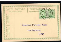 C398 - Carte N° 52C Oblitérée Liège à Destination De Liège (avec TP Compl., Suite à Changement De Tarif Au 15/12/1919) - Entiers Postaux