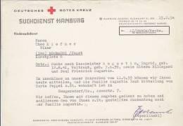 Deutsches Rotes Kreuz, Kindersuchdienst, Antwort Des Suchdiensts Hamburg Auf Suchanfrage, 1954 - Mitteilung