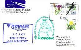 Erstflugpost - Ryanair - Dublin - Bremen - 11.05.2007 - Nebenstempel Mit Märchenmotiv - Tiere [dx68j] - Domestic Cats