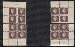 Canada 1962-1963 Cameo Full Set, Corner Plate Blocks, Mint No Hinge (see Desc), Sc# 401-405 - Num. Planches & Inscriptions Marge