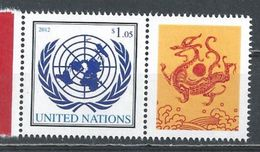 UN-New York. Scott # 1037 MNH Personalized  With Label. Lunar Year Of The Dragon  2012 - New-York - Siège De L'ONU