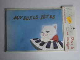 CARTE POSTALE CP AVEC ENVELOPPE Joyeuses Fetes CHAT PIANO MUSIQUE CAT MUSIC - Feiern & Feste