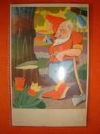 Ansichtskarte: Zwerg Mit Axt Beim Baum Fällen, Gelaufen 1943 ! - Märchen, Sagen & Legenden