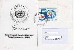 A204 - MISSIONI MILITARI DI PACE - ONU MISSIONS - UNITED NATIONS - LIBANO OPERAZIONE LEONTE - UNIFIL GEN. GRAZIANO - 2001-10: Storia Postale