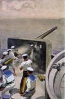 """Cartolina Militare Marina N.1 """"Tiro Rapido Contro Il Sommergibile Nemico"""" Prima Guerra Mondiale - Manovre"""