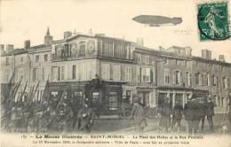 55 ST / SAINT MIHIEL - LA PLACE DES HALLES ET LA RUE FRUITIERE - DIRIGEABLE VILLE DE PARIS 27 NOVEMBRE 1908 - Saint Mihiel