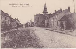 "Cromberke  "" Kerk en Straat - Eglise et Rue - Church and Street."""
