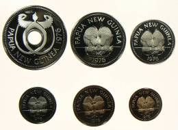 PAPUASIA NUOVA GUINEA SERIE 6 MONETE  1976 FONDO SPECCHIO - Papuasia Nuova Guinea