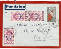 LACMN - MADAGASCAR EP ENVELOPPE AVION 3f65c + COMPL.TS VOYAGEE JUIN 1943 - Madagaskar (1889-1960)