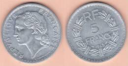 MONETA DA 5 FRANCHI DEL 1945 DELLA FRANCIA IN ALLUMINIO COME DA IMMAGINE - Francia