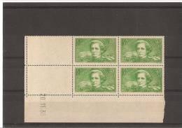 AU PROFIT DES CHOMEURS INTELLECTUELS Bloc De 4 Coin Daté  N° 331 ** 20.11.36 - 1930-1939