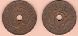 MONETA DA 1 PENNY DEL 1957 DELLA RHODESIA E NYASALAND COME DA IMMAGINE - Rhodesia