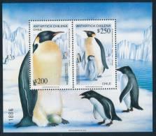 CHILE 1992 ANTARTICA CHILENA PENGUINS/Pinguino Emperador Souvenir Sheet** - Antarctic Wildlife
