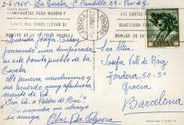 278- Postal La Escala 1965 . Gerona España - 1951-60 Storia Postale