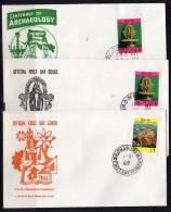 Sri Lanka 1969 Archaeological Centenary 3 Different Scarce FDC's (SL64) - Sri Lanka (Ceylon) (1948-...)