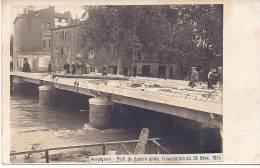 CARTE PHOTO  PERPIGNAN RARE LE PONT DE GUERRE APRES L´INNONDATION DU 26 OCTOBRE 1915 - Perpignan