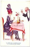 """ILLUSTRATEUR Signé Xavier SAGER : """" La Crise De L' Alimentation ... """" Mode Mondaine  Art Deco - Table De Restaurant - Sager, Xavier"""