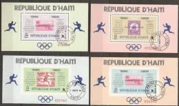 1968 Haiti - Mexico '68 - 4 Blokjes, Blocs Feuillets 1968 Vainqueurs Des Marathons 2 Dentelés, 2 Non Dentelé, Running. - Zomer 1968: Mexico-City