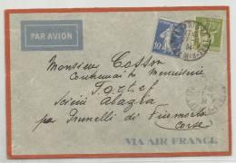 1934 - ENVELOPPE De PARIS Par AVION - SEMEUSE - PAIX - MECA AJACCIO AU DOS - Postmark Collection (Covers)
