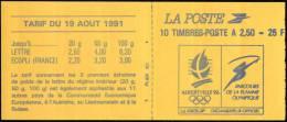 Carnet Marianne De BRIAT – YT 2720-C1 / Carnets à Plat Autocollant – Albertville 92 / Parcours Flamme Olympique. - Usage Courant