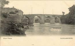 CPA  11 CARCASSONNE Pont Vieux , Les Lavandières Sur La Berge - Carcassonne