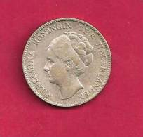NEDERLAND 1929,  Circulated Coin, XF, 1 Gulden 0.720 Silver Wilhelmina KM161.1, C90.084 - [ 8] Gold And Silver Coins