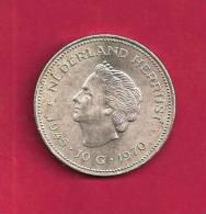 "NEDERLAND 1970,  Circulated Coin, XF, 10  Gulden ""Nederland Herrijst"" 0.720 Silver Juliana  C90.089 - [ 8] Gold And Silver Coins"