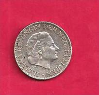 NEDERLAND 1957,  Circulated Coin, XF, 1 Gulden ,  0.720 Silver Juliana  Km184 C90.098 - [ 8] Gold And Silver Coins