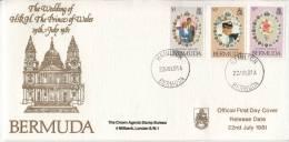 Bermuda FDC Scott #412-#414 1981 Royal Wedding Charles And Diana - Bermudes