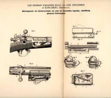 Original Patentschrift - O. Krag Und E. Jörgensen In Kongsberg , 1892 , Gewehr , Rifle , Waffe , Jagd , Hunting !!! - Equipement