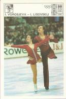 SPORT CARD No 205 - FIGURE SKATING - VOROBJEVA / LISOVSKIJ, Yugoslavia, 1981., 10 X 15 Cm - Skating (Figure)
