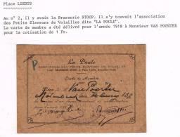 """""""Schaerbeek - Carte De Membre 1918 à Mr Van Poorter - Association La Poule"""" - Vieux Papiers"""