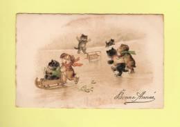 *  CPA..Fantaisie : Chats Et Chiens Sur La Glace : Bonne Année - ( 2 Scans ) - Chats