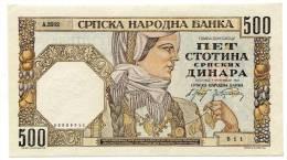 Serbia Serbie 500 Dinara 1941 UNC # 1 - Serbia