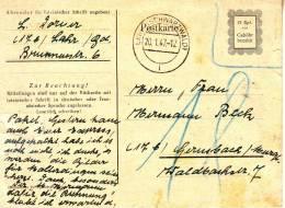 """Ganszache Frans. ZONE  P  836 A II """"LAHR / 20.1.47"""" Naar GERUSBACH (nur Gültig Bis 31.12.46) Nachporto """"18"""" - Zone Française"""