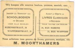"""Postkaart / Carte Postale """"Schaerbeek - Rue Rubens 24 - M Moorthamers - Livres - Recto Leuven St Pieter´s Kerk"""" - Schaerbeek - Schaarbeek"""