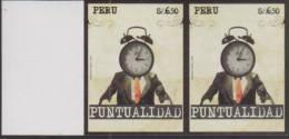 O) 2009 PERU, PUNCTUALITY, CLOCK, IMPERFORATE FOR 2, MNH. - Peru