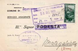1951  LETTERA  CON ANNULLO ARSAGO SEPRIO VARESE - 6. 1946-.. Republik