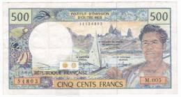 Polynésie Française / Tahiti - 500 FCFP - Alphabet M.005 / Signatures Jurgensen / Ferman / Beugnot - Papeete (Polynésie Française 1914-1985)