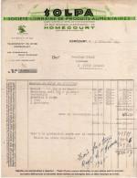 PUBLICITE -  FACTURE SOCIETE LORRAINE DE PRODUITS ALIMENTAIRES - SOLPA HOMECOURT MEURTHE ET MOSELLE 1946 - A VOIR - Advertising