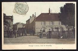CPA ANCIENNE- FRANCE- ST-LEU-D'ESSERENT (60)- PASSAGE A NIVEAU COLORISÉ TRES BELLE ANIMATION GROS PLAN- CAFÉ DE LA GARE - Other Municipalities