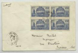 1938 - ENVELOPPE De SAINT ETIENNE PREFECTURE (LOIRE) - BLOC DE 4 - France