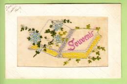 CPA Brodée - LIVRE SOUVENIR - 2 Scans - Embroidered