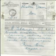 PETANGE MONS PRINCE HENRI KAYSER   Administration Des Telegraphes  26.10.1912 - Belgique