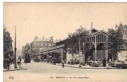 Rouen Le Clôs Saint-Marc La Halle Le Marché Cpa Animée Dep 76 Normandie Seine Maritime - Caudebec-en-Caux