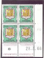 ANDORRE FRANCAIS - Y&T N° 155A -  Coin Daté  4 TP **  Du 28/03/1966 - Neufs